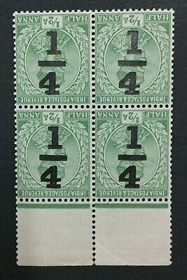 MOMEN: INDIA CHAMBA SG #195a 1922 BLOCK MINT OG NH LOT #193898-2464
