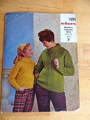 Vintage Knitting Pattern, 60's, Sweater, Big Collar, Cable Detail, Family Sizes