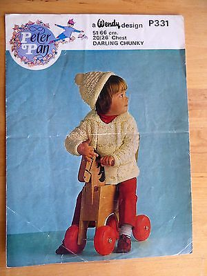 Vintage Knitting Pattern, 70s, Child's Double Breasted Jacket & Hat, Chunky
