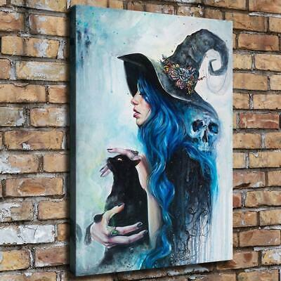 """12""""x16""""Witch and Cat Halloween HD Canvas prints Painting Home Decor Picture art"""