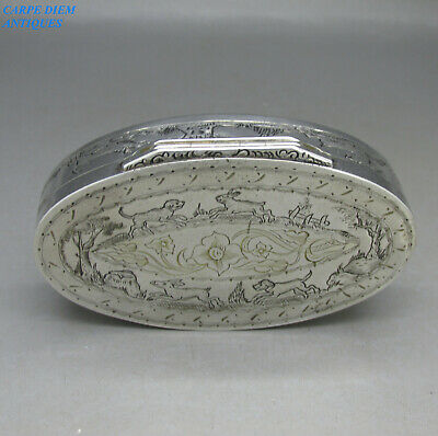 Antique Swedish Rare Good Quality Solid Silver Engraved Snuff Box Aa Sweden 1846