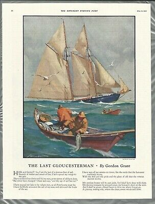 1934 The LAST GLOUCESTERMAN, poem & art by Gordon Grant Saturday Evening Post