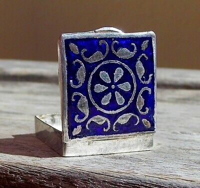 Stunning Victorian Solid Silver And Blue Enamel And Pique Silver Work Pill Box