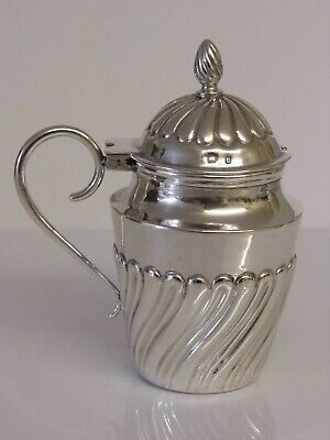 FINE ANTIQUE VICTORIAN ENGLISH SOLID STERLING SILVER MUSTARD POT Birmingham 1895