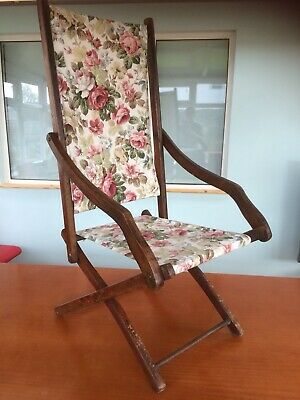 Small Adult's Victorian Edwardian Antique Folding Chair SANDERSONs Fabric
