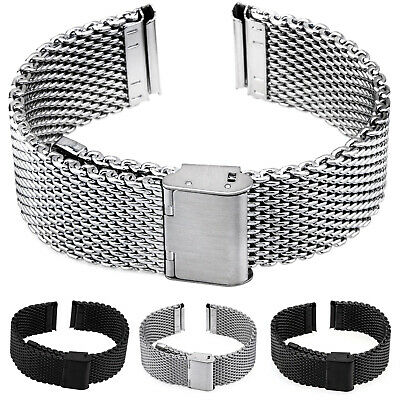 Milanaise Watchband Stainless Steel Mesh Matte Black Polished Wristwatch Strap