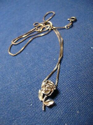 Grandmas Estate 925 Sterling Silver Rose Necklace