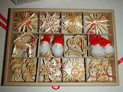 Scandinavian Swedish Norwegian Danish Straw Christmas Ornaments 45 pc box