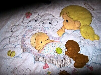 VINTAGE BABY CRIB QUILT - Appliqued Angel and Animals
