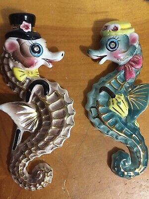 Vintage Jewel Eyed Pair Ceramic Seahorse Fish Wall Plaques - Hard To Find