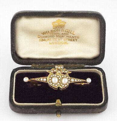 * c1880 - VICTORIAN 15K GOLD & SEED PEARLS DOUBLE HEART PIN / BROOCH  3.8 gr.