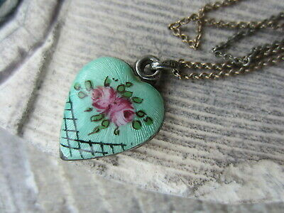 Antique STERLING SILVER Rose GUILLOCHE ENAMEL Puffy HEART Necklace PENDANT Charm