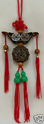 Feng Shui Red Mystic Knot with Chinese Coins Ingot Sphere  Wu Lu Health Fortune