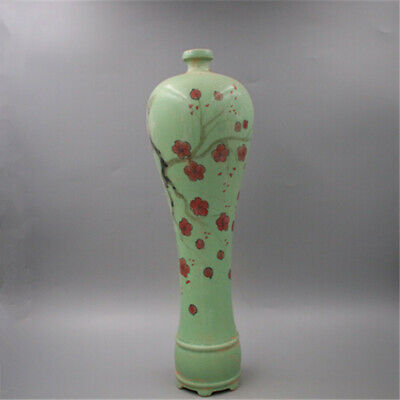 Chinese ancient antique hand make green glaze  Pulm vase Porcelain QQ79