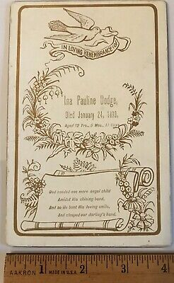 Antique 1893 Death Remembrance Card Child Girl Cabinet Card