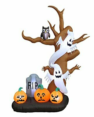 9 Foot Tall Halloween Inflatable Tree with Ghosts, Pumpkins, Owl and Tombstone L