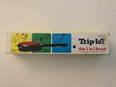 Trip-let 3 in 1 Brush - Clothes Brush, Shoe Horn & Lint Remover In Box Retro