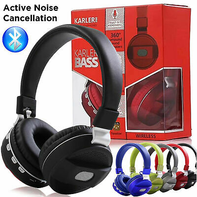 ACTIVE Noise Cancelling Wireless Bluetooth Headphones Foldable Over Ear HEADSETS
