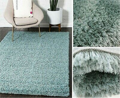 Cosy Shaggy Rug 5cm Thick Soft Touch Pile Plain Carpet Runner Bedrooms Duck Egg