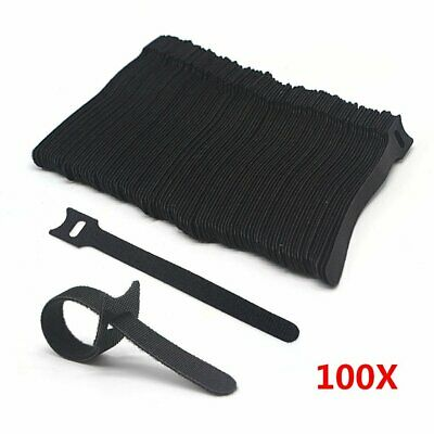 100x  15cm Releasable Reusable Cable Wire Ties Black Wraps Ties Strap Hook Loop