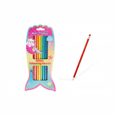 Girls Unicorn/Mermaid Cat Glitter Design Colouring Pencils - Pack of 8