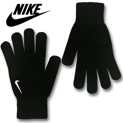Nike Mens Gloves Knitted Running Sports Gym Winter Soft Warm Adults Black Swoosh