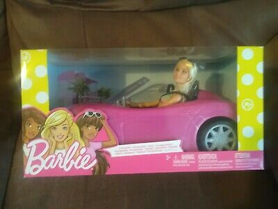 Brand New Barbie Pink Convertible Car And Barbie Doll Set