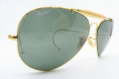 Vintage B&L Ray Ban aviator sunglasses etched lens coil arm made in the USA