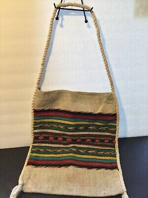 Vintage burlap rope woven purse tote bag fringe boho hippie handbag durable