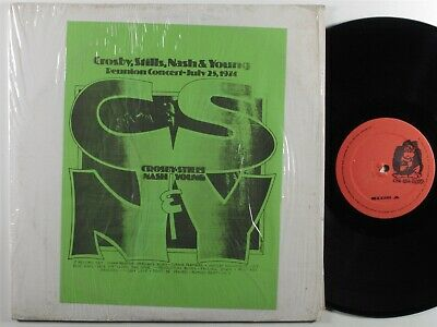 CROSBY STILLS NASH & YOUNG Reunion Concert July 25, 1974 2XLP VG+ SHRINK