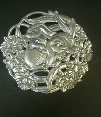 "1995 Vintage Arthur Court 8"" Metal Floral Easter Trivet Rabbit Flower Bunny"