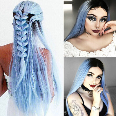 Women Full Head Hair Wig Gradient Sky Blue Long Straight Ombre Cosplay Party UK