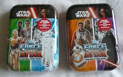 2 x Star Wars Force Attak Trading Cards Tins with 1 Limited Edition Card - New