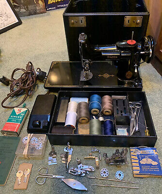 1948 Singer Featherweight 221-1 Sewing Machine W/ Case & Accessories Works Great