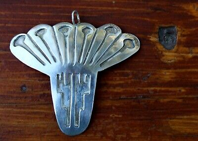 Beautiful Big Old Navajo Solid Sterling Silver Pendant