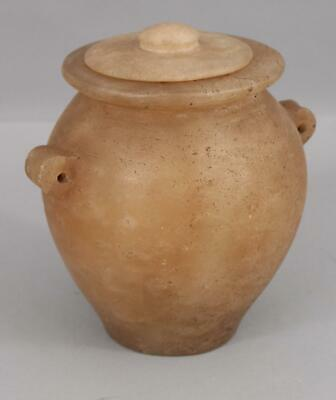 Authentic, Early Ancient BC, Egyptian Alabaster Burial Tomb Jar Pot, NR