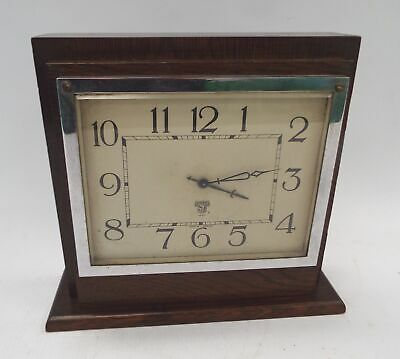 Vintage SMITHS 8 Day Wooden Wind Up MANTEL CLOCK Spares/Repairs - D39