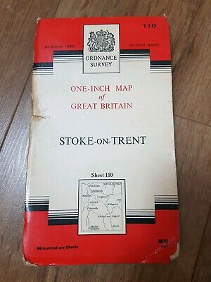 Ordnance Survey One Inch Map Seventh Series Stoke On Trent 1962 Printed on Cloth