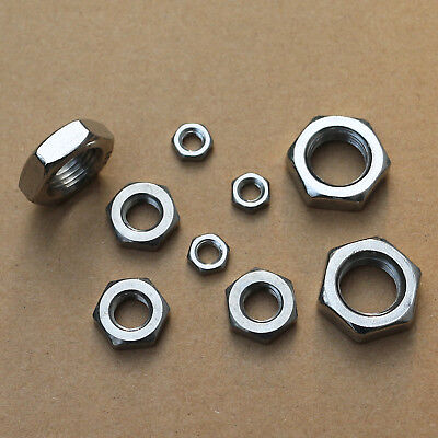 304 Stainless Steel Select Size M17 - M24 Thin Hex Nuts Right Hand Thread