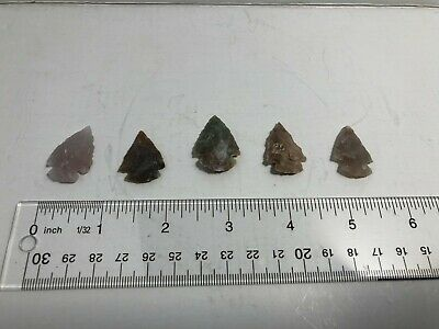 Lot of handmade reproduction project Arrowheads.  Five total