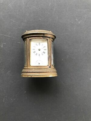 Antique 19th Century French AIGUILLES carriage brass clock, oval