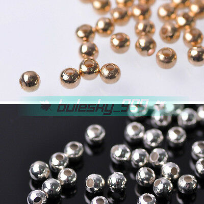 100~500pcs 4mm Round Gold/Silver Loose Spacer Metal Beads DIY Jewelry Findings
