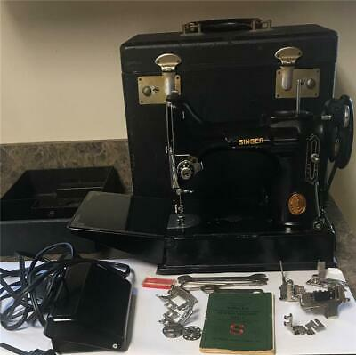 Vintage Singer Featherweight 221-1 Sewing Machine with Case & Singer Bobbin +++