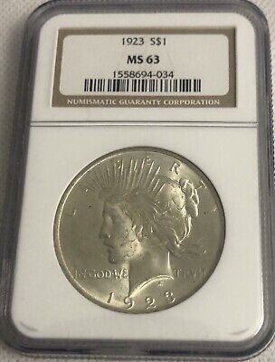 1923 Silver Peace Dollar NGC MS 63