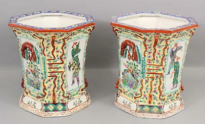 Pair Antique Chinese Republic Period, Octagon Hand Painted Porcelain Flower Pots