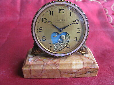 Antique Le Petit Forgeron Gilt Brass Animated Desk Clock with Marble Base