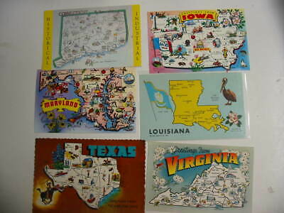 50 State Map Postcard Lot