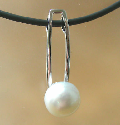 10.6mm AUST WHITE SOUTH SEA PEARL UNTREATED +18ct WG PENDANT+APPRAISAL AVAILABLE