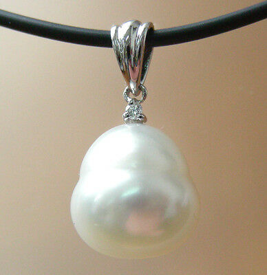 11.2mm!! SOUTH SEA PEARL UNTREATED +DIAMOND +18ct WG PENDANT+APPRAISAL AVAILABLE