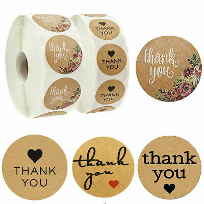 500Pcs/Roll Thank You Kraft Stickers Package Label Sealing Tag Wedding Decors